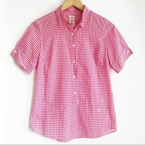 J. CREW Cotton Washed Shirt Pink Gingham Popover
